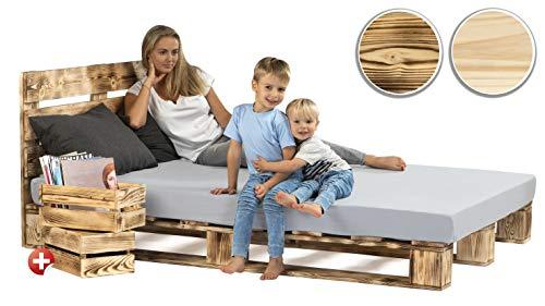 sunnypillow Palettenbett mit Kopfteil 160 x 200 cm Holzbett Bett aus Paletten Palettenmöbel Geflammt Vintage + 2 Holzkisten gratis
