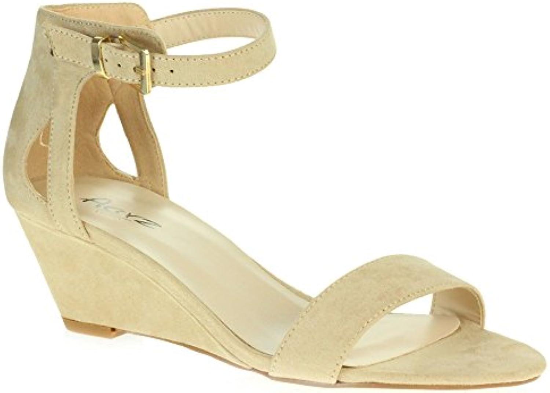 AARZ LONDON Frau Damen Sparkly Abend Hochzeit Party Braut Abschlussball Plattform Keilabsatz Sandalen Schuhe Größe