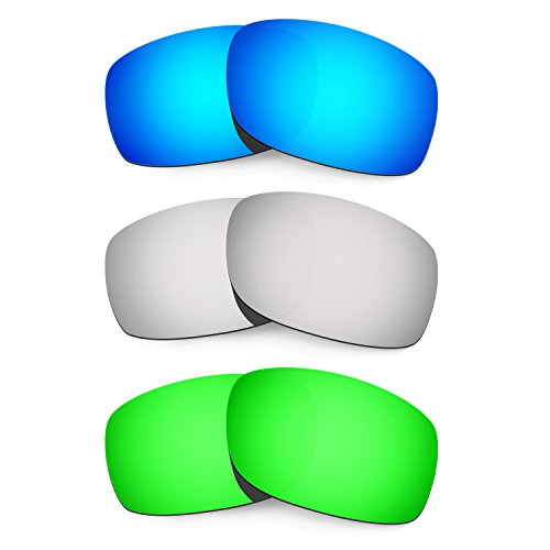 HKUCO Mens Replacement Lenses For Oakley Fives Squared Blue/Titanium/Emerald Green Sunglasses