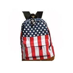 HmgSea 2012 Girls American Flag Print Casual Canvas Rucksacks Backpacking Bags