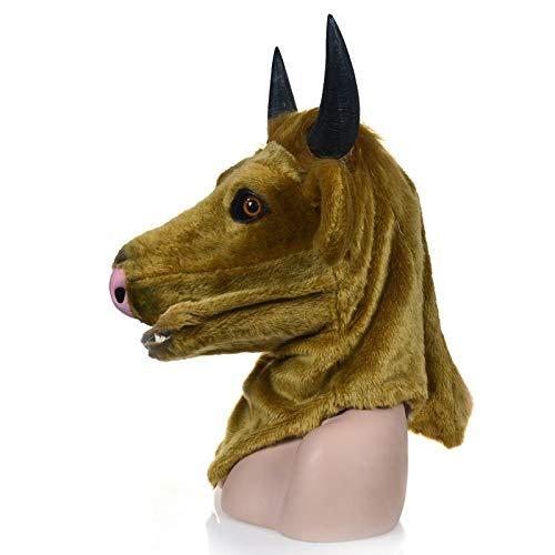 XIANCHUAN Bewegliche Mundmaske Kreatur Schwarze Kuh Maske Halloween Kreatur Karneval Party Masken Tierkopf Party Requisiten Atmungsaktive Cosplay Dekorationen Neuheit Kostüm