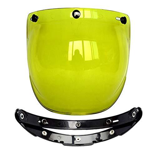 CHOULI Motorrad Windschutzscheibe Helm Jet Helm für Harley Style Helm Bubble Visier gelb