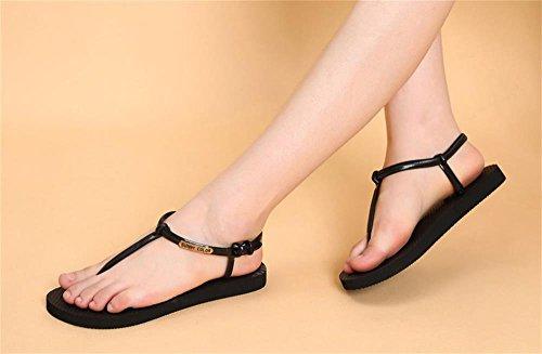 ALUK- Été - coréen plat décontracté sandales mode avec des chaussures de plage ( couleur : Noir , taille : 37 ) Noir