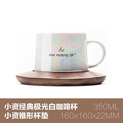 Winpavo Mugs Tasses Tasse À Café Noire en Céramique Blanche Marquée De La Marque Aurora Nordique avec Perles