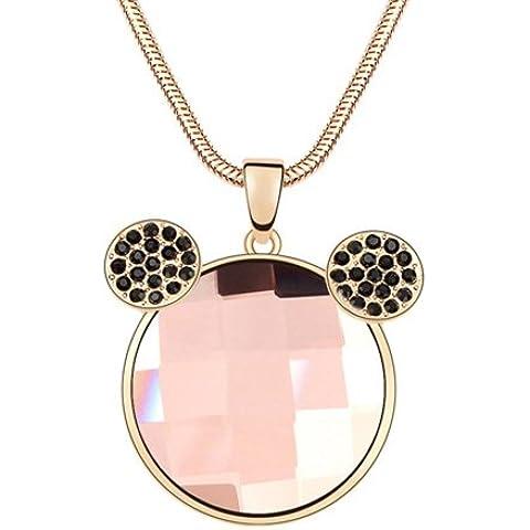 Moda Dreamslink 18 K Chamoagne chapado en oro Color transparente lámpara de techo de cristal collar con colgante en forma de oro rosa y cristales Micky collar con colgante de cristal 93807