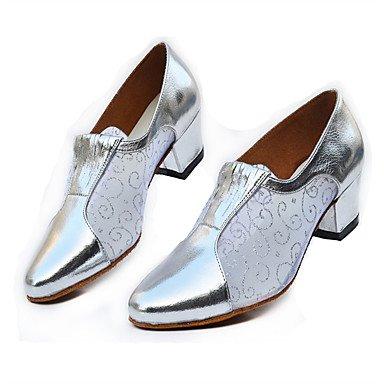 XIAMUO Anpassbare Damen Tanz Schuhe Samba Leder/funkelnden Glitter Ferse Silber/Grau/Gold Silber