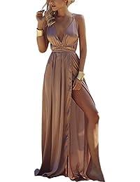 106aaf606a0b Mena Uk La Moda delle Donne Sexy Fuori dalla Spalla Manica Lunga Vestito  Maxi dal Manicotto