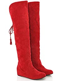 Minetom Damen Winter Warm Schnee Hohe Stiefel Pelzstiefel Flache Schuhe Overknee Stiefel