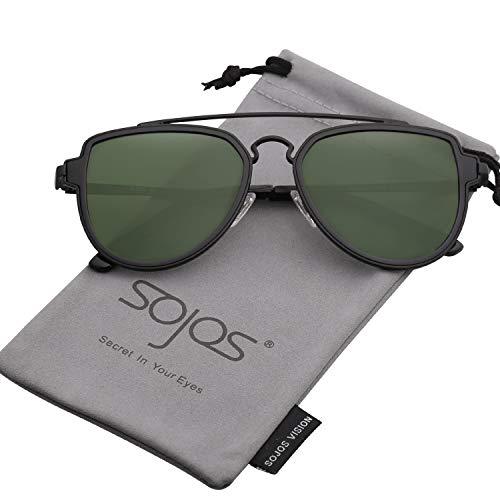 SOJOS Retro Doppelte Metallbrücken Aviator Polarized Linse Sonnenbrille Unisex Damen SJ1051 mit Schwarz Rahmen/G15 Polarized Linse