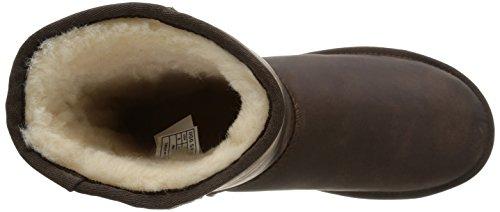 Ugg Ugg W Classic Short In Pelle Da Donna Mezza Albero Slip Boots Marrone (bwst)