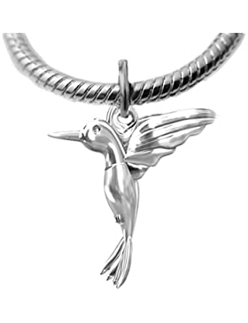 Massives Silber 925Kolibri Charm Charm Anhänger passt auf Links of London Armband oder Halskette