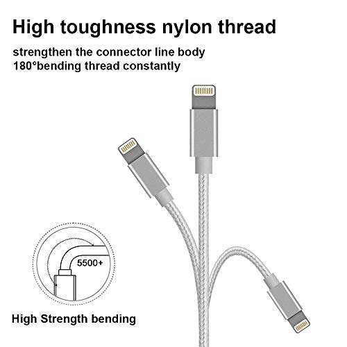 Splitter kompatibel iPhone X, Xr, Xs, 8 Plus, 8,7 Plus, 7, 6, 6s, 6s Plus, 6 Plus, 5, 5S, 5S, 5S, iPad Mini, Air, AUX auf 3,5 mm Kopfhöreranschlussadapter, Audio & Ladekabel