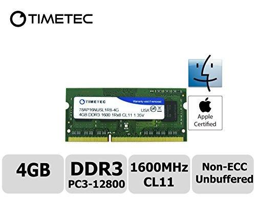 Timetec® Apple (78ap16nusl1r8-4G) di memoria RAM 4GB, 1600MHz DDR3(PC3-12800) non-ECC unbuffered, CL11, 1R, X8, 1.35V, SODIMM 204-pin Single Rank Laptop/Notebook) memoria aggiornamento per Apple iMac 27-inch (Late 2013) Core i5/i7, iMac Retina 5K 27-Inch (Late 2014) Core i5/i7(Late 2011)-Garanzia a Vita