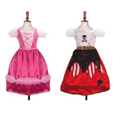 Mädchen doppelseitiges Fasching Kostüm - hübsche Prinzessin - Piraten Kleid 6 - 8 ()