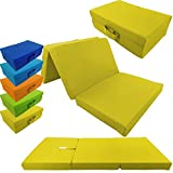 Children folding guest matress 120 x 60 x 6 cm transportable fold out kids matress in different colors, Colour:Yellow