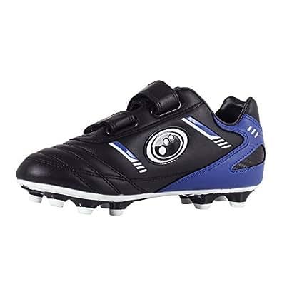 Optimum Boys' Tribal Velcro Moulded Stud Football Boots, Black (Black/Blue), 8 Child UK