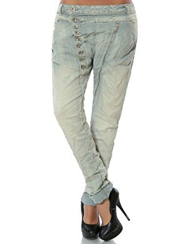 Damen Boyfriend Jeans Hose Reißverschluss Knopfleiste (weitere Farben) No 14145, Farbe:Hellgrau;Größe:38 / M (Hose Jeans Naht Knie)