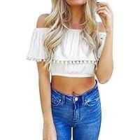 LILICAT® Mujeres Sólido Sexy Off Hombro Camisetas, Blusa Moda encaje Manga Corta Borla Vestidos de fiesta Básico Verano 2018 (S, blanco)