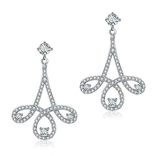 Neuheit Kronleuchter (KAD Neuheit Jewelry-S925 Sterling Silber Damen Ohrringe Silber Blume Zirkonia Kronleuchter für Hochzeit Ohrstecker)