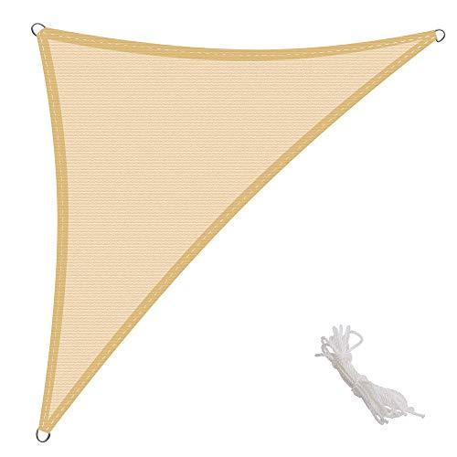 KingShade 2.5x2.5x3.5m Triangular Toldo Vela de Sombra para Exteriores Patio, el jardín, protección UV Polietileno de Gran Densidad Transpirable, Color Arena