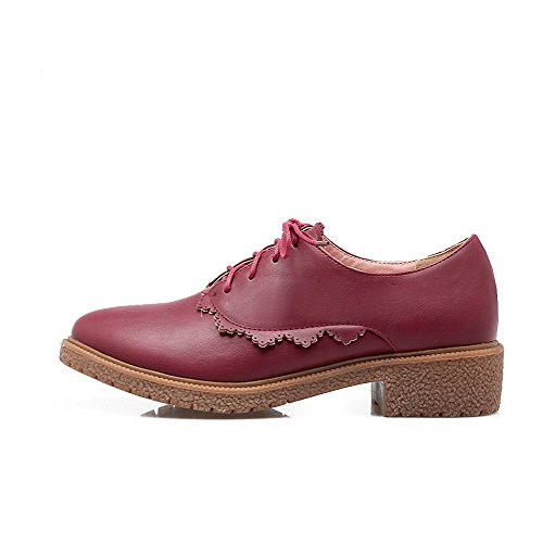 VogueZone009 Femme Couleur Unie Pu Cuir à Talon Bas Rond Lacet Chaussures Légeres Rouge