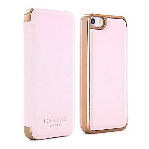 Official Ted Baker SS16 Folio Case for Apple iPhone 5S with in Nude with Built in Mirror for Women iPhone 5 Case in Leather Finish - SHAEN - Nude / Rose Gold nude/rose gold