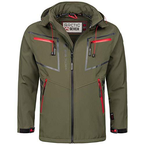 Arctic Seven Herren Designer Softshell Funktions Outdoor Regen Jacke Sport AS088 [AS-088-Olive-Gr.5XL]