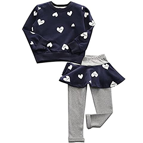 Puseky Baby Girls Love Heart Sweatshirt Tops & Pantskirt Tracksuit Outfits Set (2-3 Year, Navy