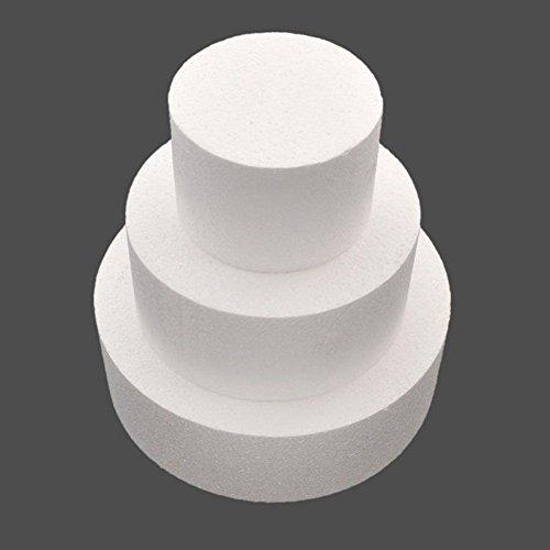 Xigeapg Runde Kuchen Dummy 4 Zoll / 6 Zoll / 8 Zoll (Kuchen Dummy Set 4 Zoll 6 Zoll 8 Zoll) - Runde 6 Dummy-kuchen