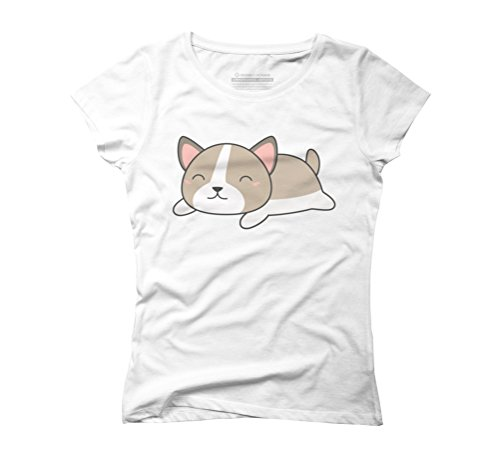Kawaii and Cute Puppy Dog Women's Graphic T-Shirt - Design By Humans White