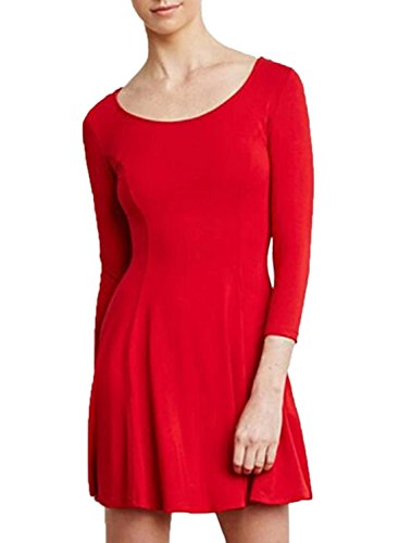 Azbro Women's Solid Color 3/4 Sleeve Empire Dress red