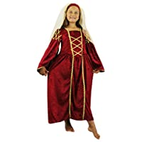 ILOVEFANCYDRESS GIRLS TUDOR QUEEN COSTUME - BLACK | RED | GREEN | PURPLE