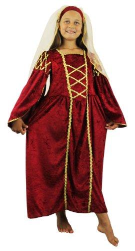 Prinzessin Julia Kind Kostüm - Mädchen Tudor Prinzessin Kostüm Fancy Kleid Maroon Vergangene Zeiten Queen Kinder Mittelalter Prinzessin Renaissance Schule Lehrplan Velours Kleid + Kopfbedeckung mit Schleier