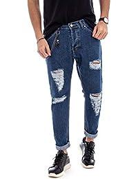 64e7cd65615ee1 Giosal Pantalone Uomo Cinque Tasche Jeans MOD Denim Rotture Strappato  Cavallo Basso