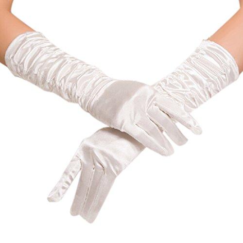 Damen Ellenbogen Fingerspitzen Handschuh Falte Elastischer Satin Brauthandschuhe Party Abendhandschuhe handschuhe Winter Frühling (Braut Burlesque Kostüm)