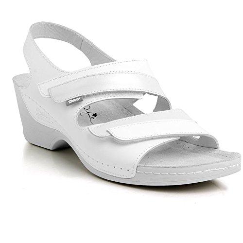 Batz SZABINA di Alta Qualità Sandali Estivi con Cinghia Posteriore in Pelle da Donna Bianco