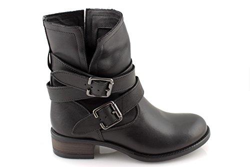 Stivali biker boots donna scarpe invernali in pelle neri marroni stivaletti made ITALYDAMIN0153-Nero-38