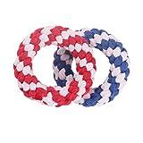 Cvthfyky Hund sauber Zahnseil verschleißfest Baumwollseil Spielzeug Molaren Biss rot blau zwei. (Color : 2 colors, Size : L)