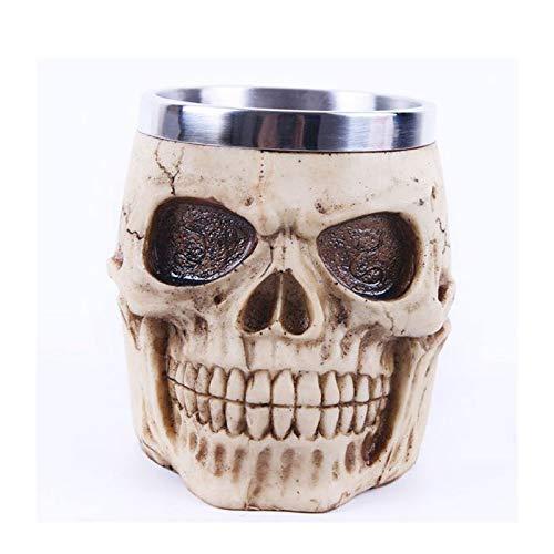 Taza del cráneo Taza del cráneo del acero inoxidable 3D, taza de café del cráneo del acero inoxidable para la bebida, cerveza, jugo de sangre, taza medieval de Drinkware de la armadura del cráneo del