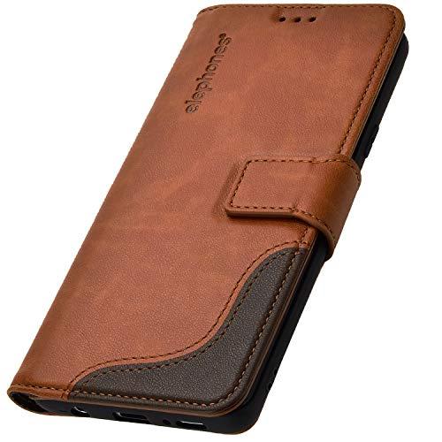elephones Schutzhülle kompatibel mit Samsung Galaxy S8 Hülle Handyhülle Handy-Tasche Wallet Case Cover Braun