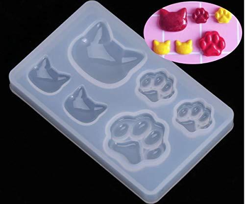 1pc Transparent Cat 6 Köpfe Haustier Pfoten Silikon Tier-Cabochon Herstellung von Schimmel-Fach Rahmen Für Epoxid-Uv-Harz Schimmel Seife Polymer Clay -