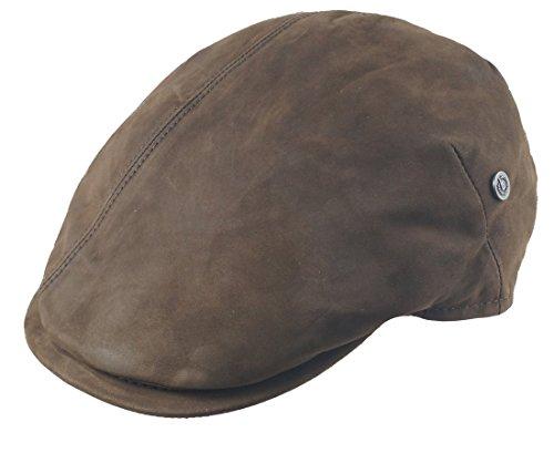 Edle Herren Leder Flatcap von Bugatti - Schicke Schiebermütze in hochwertigem Wildleder in dezentem Grau 58