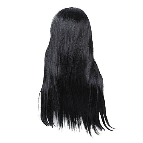 SODIAL(R) Femme Longue Frise Deguisement Perruques Droit Cosplay Costume Dames Perruque Partie - Noir