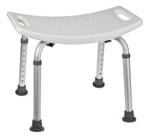 Aluminium Duschhocker mit weißem Sitz, Alu Sitz, Duschsitz, Badsitz, Duschensitz