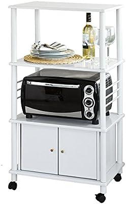 SoBuy® Carrito de cocina, estante de cocina, estante con ruedas, estantería de cocina, FRG12-W, ES