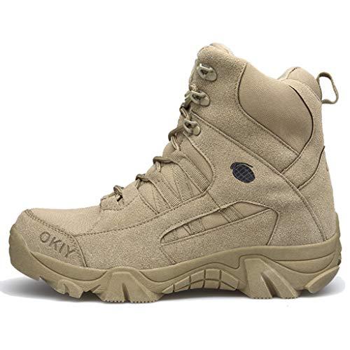 ical Boot Sport Militär Wüste im Freien wandernden Wildleder Kampf-beschuht hohe Spitzen-Spitzen ups Sicherheit Patrol Schuhe,Sandcolor,43 ()