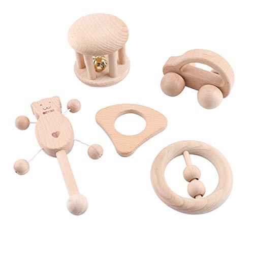 Best for baby 5pc Hêtre Hochet en Bois Jouets Intellectuels de Bébé Accessoires d'Allaitement Jouets Sensoriels