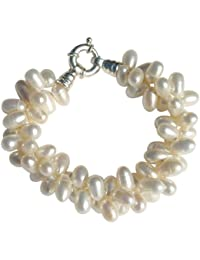 Cultured Freshwater White 8-10mm Pearl two strand chunky bracelet with a silver clasp, presented in an attractive satin silk pouch with a gift card