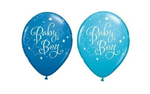 Neuf Bébé Garçon étoiles Noir Et Robins Egg Bleu Qualatex 27.9cm ballons en Latex x 10