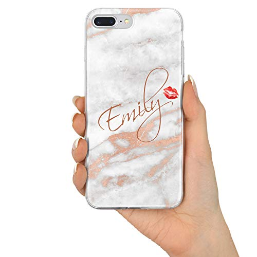 mor Marble Personalisiert Name Initialen Monogramm Brauch Custom Schutzhülle aus Hartplastik Handy Hülle für iPhone - Name & Kuss - für iPhone 7 Plus / 8 Plus ()